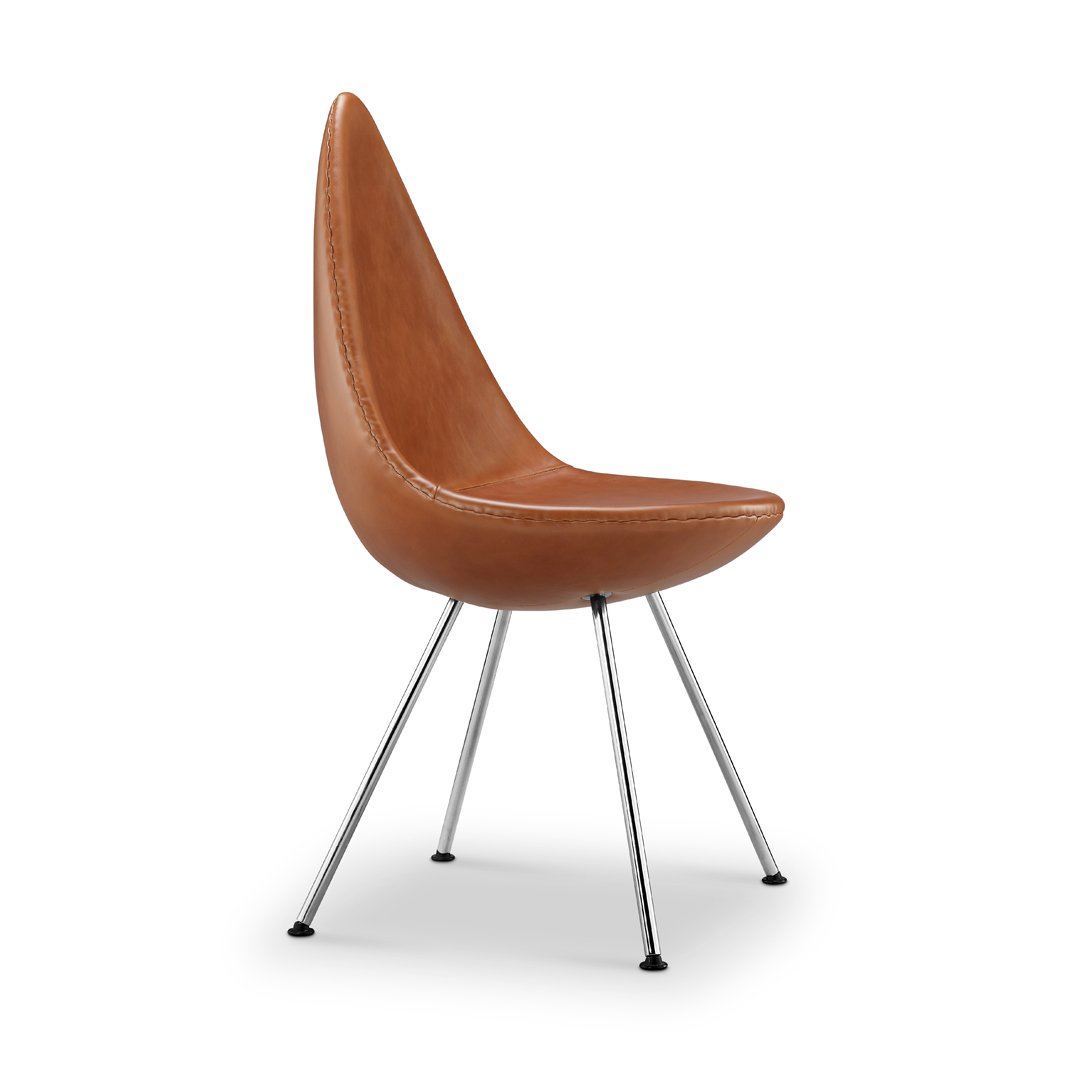 Replica Arne Jacobsen Drop Chair - tan leather