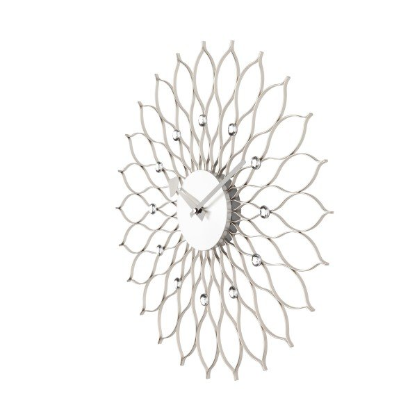 nelson-type sunflower clock - silver