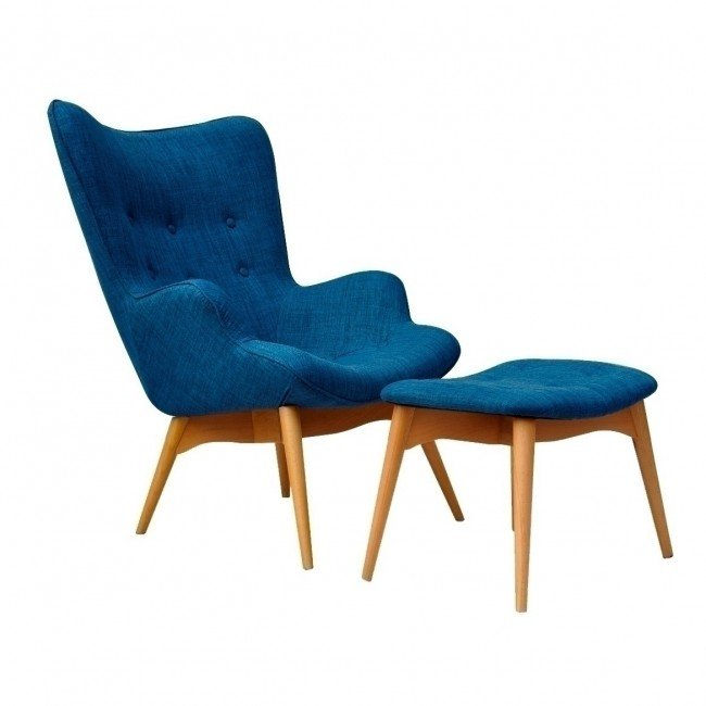grant featherston chair and ottoman - denim blue