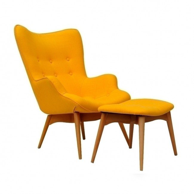 grant featherston chair and ottoman - yellow