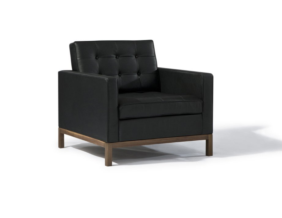 Geneva | Florence Armchair - Black With Wood Base Furniture-Living Room-Chairs