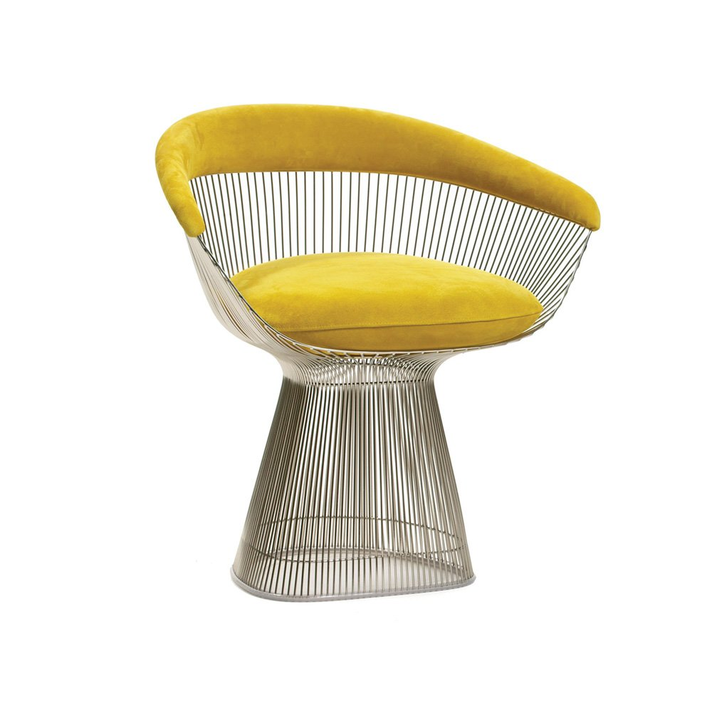 Platner chair in designer velvet fabric
